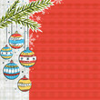 red background with christmas balls, vector