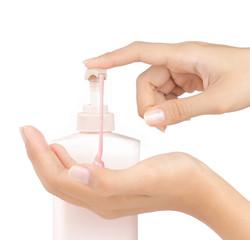 gesture of beautiful womans hand using hand sanitizer