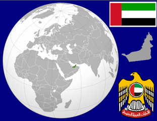 United arab emirates globe map locator world flag coat