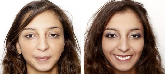 Gesichts make up - vorher nachher