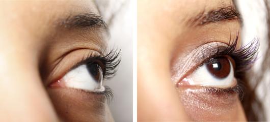 Augen Make-Up vorher-nachher