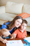 Mother and kids at home