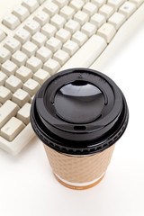Coffee Cup and Computer Keyboard