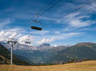 Cable car elevator in French Alps, Chamonix valley, Col de Voza.