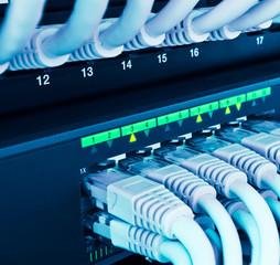 closeup of network hub