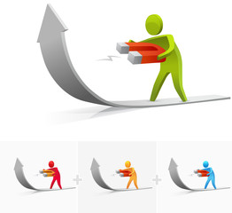 3D character illustration bending the arrow upward with magnet