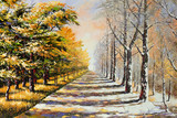 Fototapety Allegory on theme winter-autumn