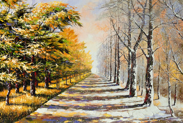 Allegory on theme winter-autumn