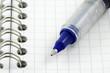 stylos à bille bleue sur carnet à spirale