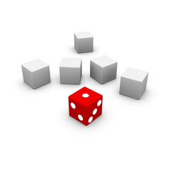 Dice with gray boxes
