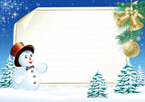 blank paper for Christmas greeting with cute snowman