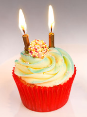 Celebration Cupcake with candles
