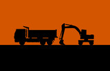 Hydraulic shovel and lorry silhouette vector poster