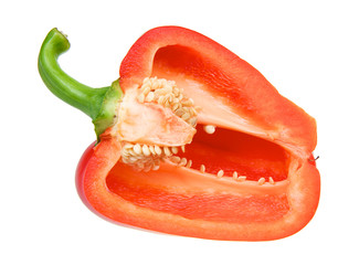 Half a red pepper isolated over white