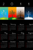 2011 Calendar with seasons over black background