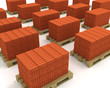 Lot of stacks of orange bricks with pallets isolated on white