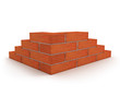 Corner of wall made from orange bricks isolated on white