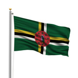 Flag of Dominica waving in the wind in front of white background