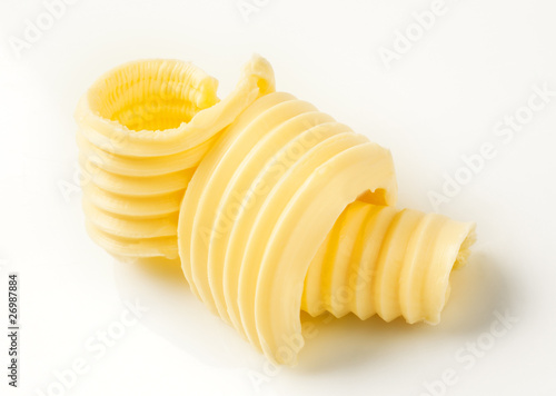Staande foto Zuivelproducten Butter curls