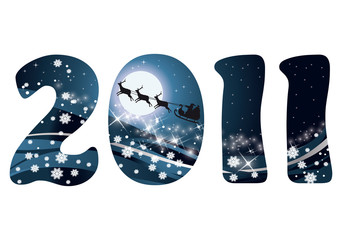 Christmas card 2011 new year. vector illustration