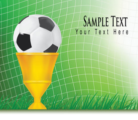 Football background with champion cup. Vector.