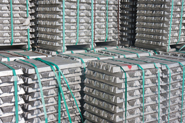 Aluminium bricks waiting for transport to the factory