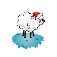 Christmas sheep on ice.