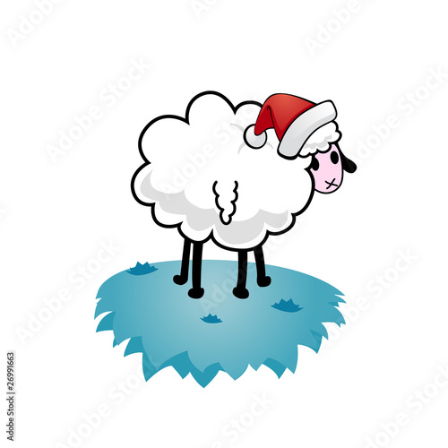 Christmas sheep on ice.