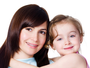 Portrait of happy young mother with daughter