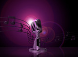 classic microphone with pink light and music notes on background
