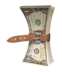 dollars squeezed together by belt