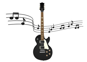 electric guitar with music notes on background