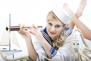 Sailor Girl with telescope
