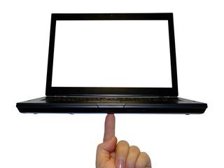 Laptop auf einem Finger balanciert