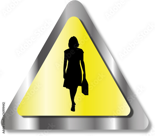 Danger business woman sign