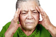 Old senior woman having migraine or headache