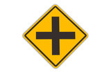intersection warning sign poster