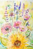 Fototapety watercolor painting, flowers