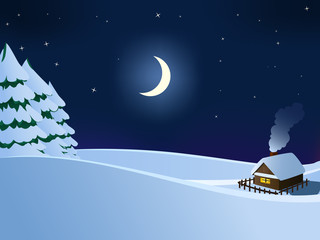 Small hut wooden house in christmas winter night