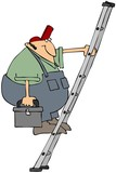 Workman On A Ladder poster