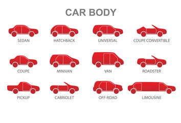 Car body icons. Vector illustration.