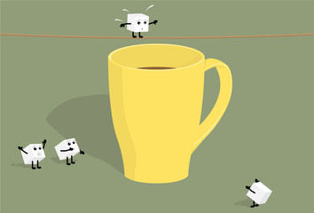 Sugar cubes and cup of coffee