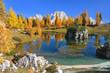 Bergsee im Herbst mit Spiegelung in den Dolomiten