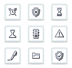 Administration icons, white square glossy buttons