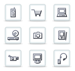 Electronics icons, white square glossy buttons