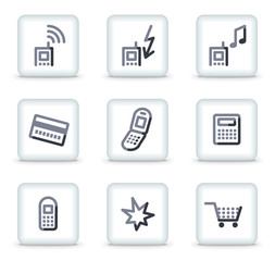 Mobile phone icons set 1, white square glossy buttons