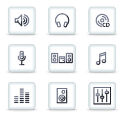 Sound icons, white square glossy buttons