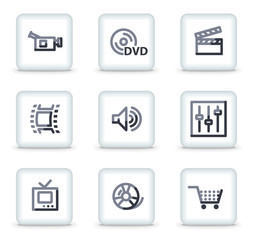 Video icons, white square glossy buttons