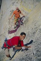 Rock climbing team.
