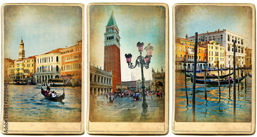 Fotobehang Kanaal beautiful romantic Venice- retro cards